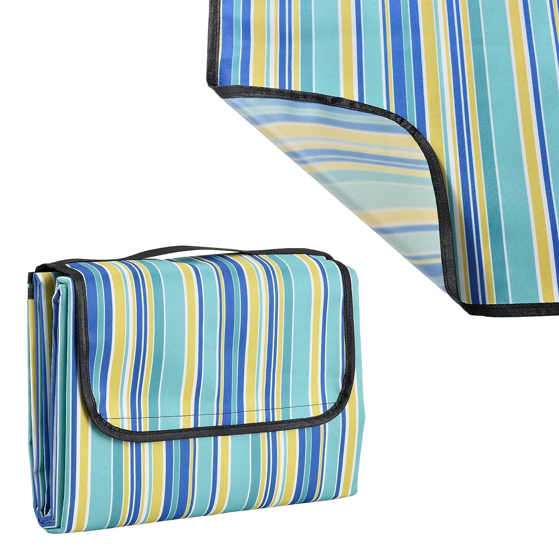 [casa.pro]®] Coperta da picnic - 200x147cm - Parte psteriore della coperta impermeabile + maniglia (blu)