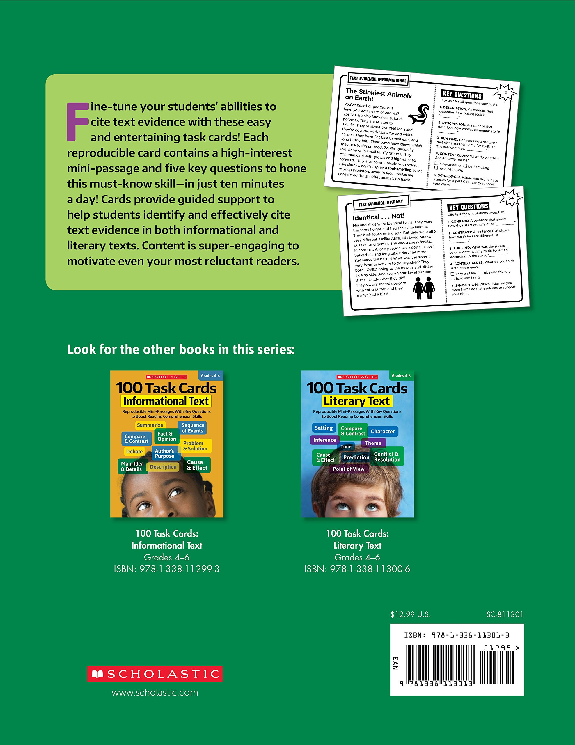 Amazon 100 task cards text evidence reproducible mini amazon 100 task cards text evidence reproducible mini passages with key questions to boost reading comprehension skills 0078073113019 scholastic fandeluxe Choice Image