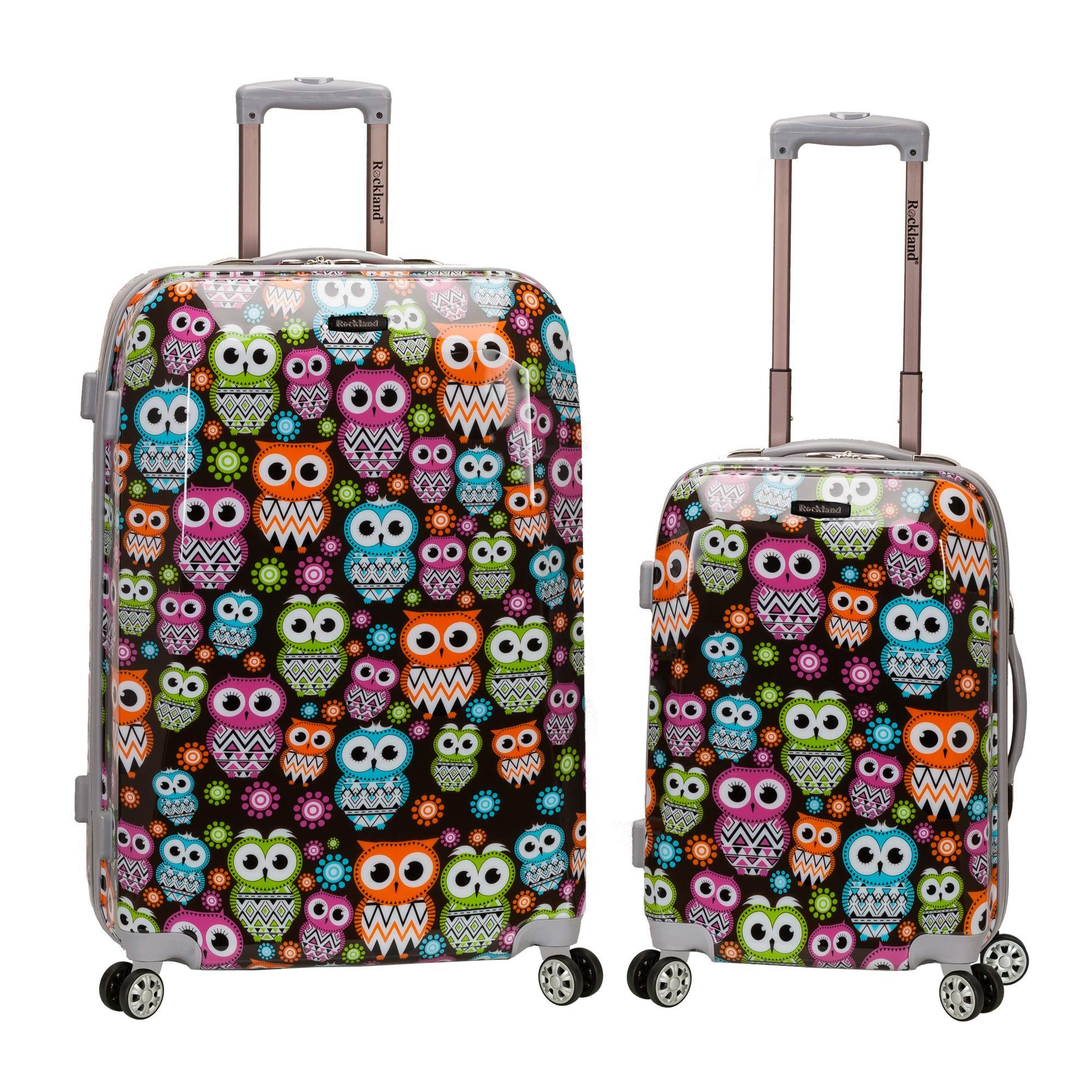 Rockland 2 Piece Upright Luggage Set, Owl, One Size