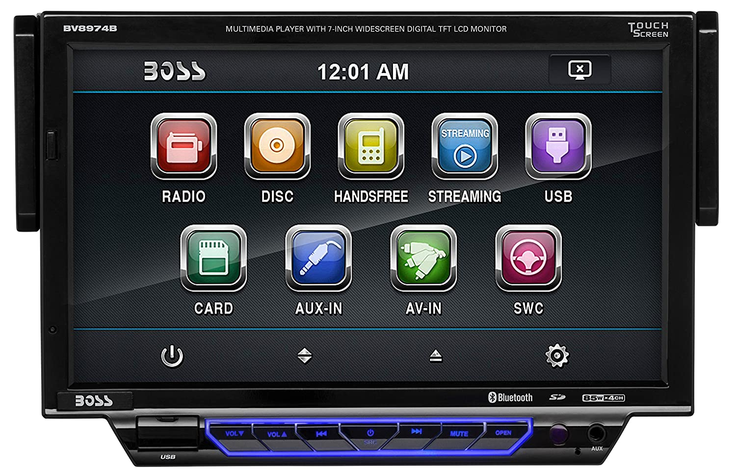 amazon com boss audio bv8974b single din, touchscreen, bluetoothboss audio bv8974b single din, touchscreen, bluetooth, dvd cd mp3 usb sd am fm car stereo, 7 inch digital lcd monitor, detachable front panel,
