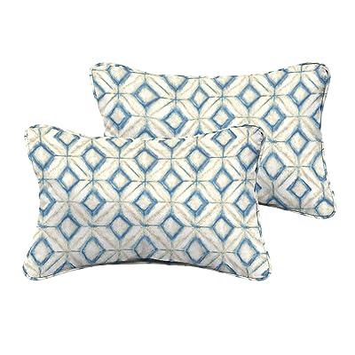 Mozaic AMPS115075 Corded Indoor/Outdoor Rectangle Pillows (Set of 2), Blue Diamond Tile : Garden & Outdoor