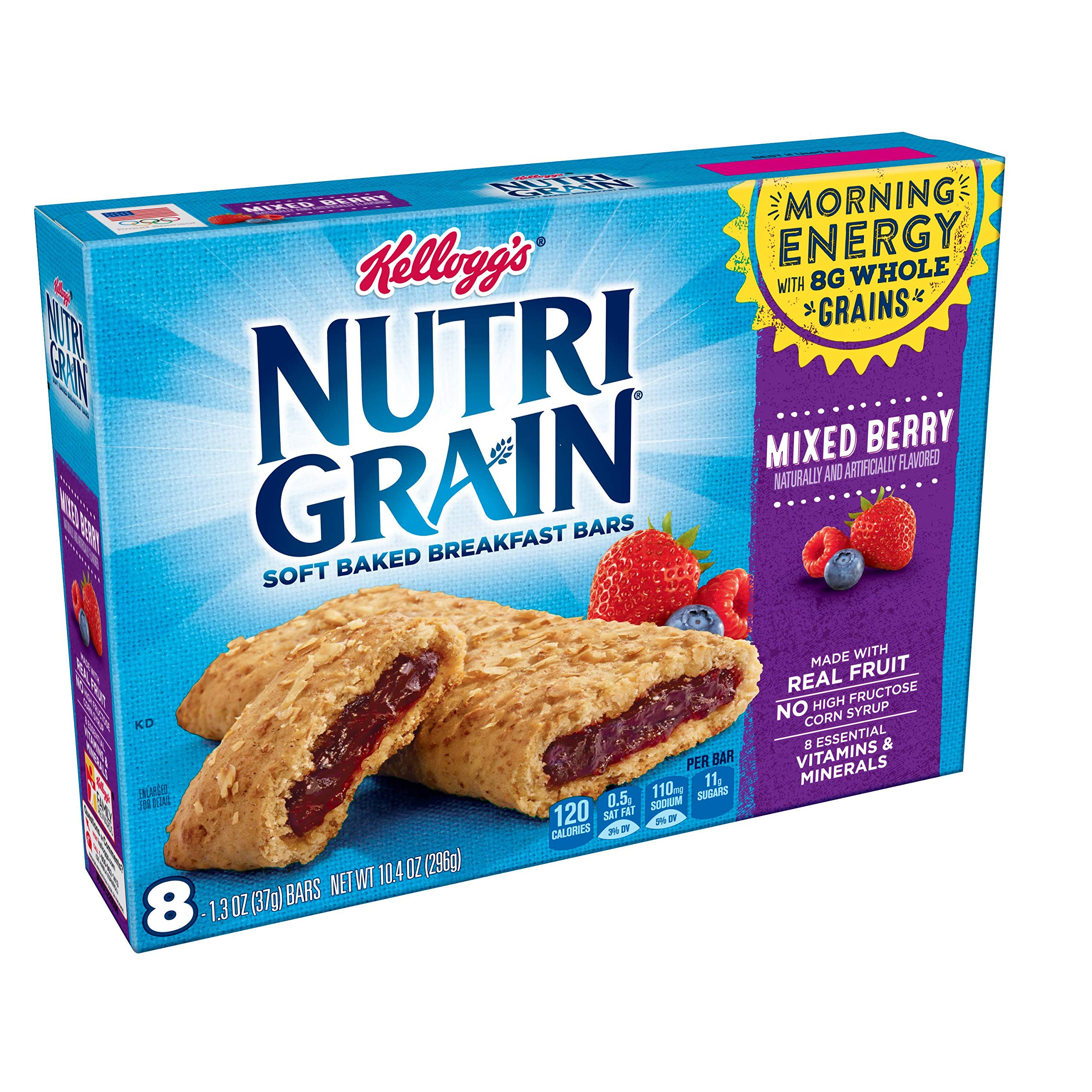 Kellogg's Nutri-Grain, Soft Baked Breakfast Bars, Mixed Berry, Made with Whole Grain, 10.4 oz (6 packages of 8 bars) by Nutri-Grain