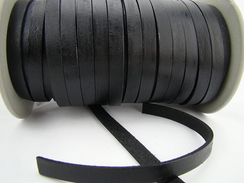 esnado Lederband Flach - L/änge//Farbe: w/ählbar 1 cm x 2,5 mm Hellbraun 1 m