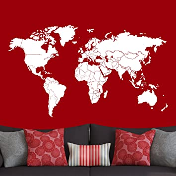 Amazon world map decal w countries borders z010 white 96w x world map decal w countries borders z010 white 96quotw x 55quot gumiabroncs Choice Image