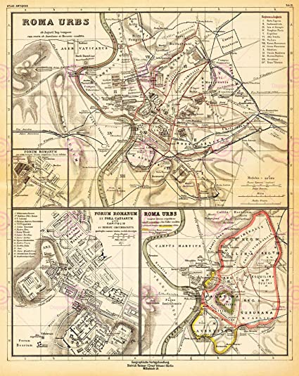 MAP ANTIQUE KIEPERT 1903 ANCIENT ROME CITY PLAN REPLICA POSTER PRINT  PAM0966 by Large Posters