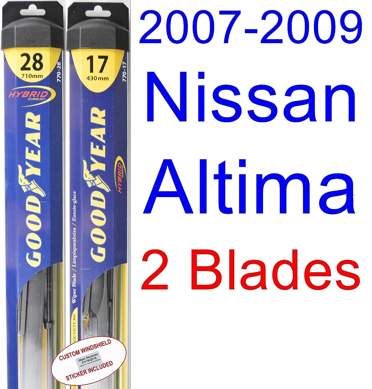 2007 - 2009 Nissan Altima hoja de limpiaparabrisas de repuesto Set/Kit (Goodyear limpiaparabrisas blades-hybrid) (2008): Amazon.es: Coche y moto