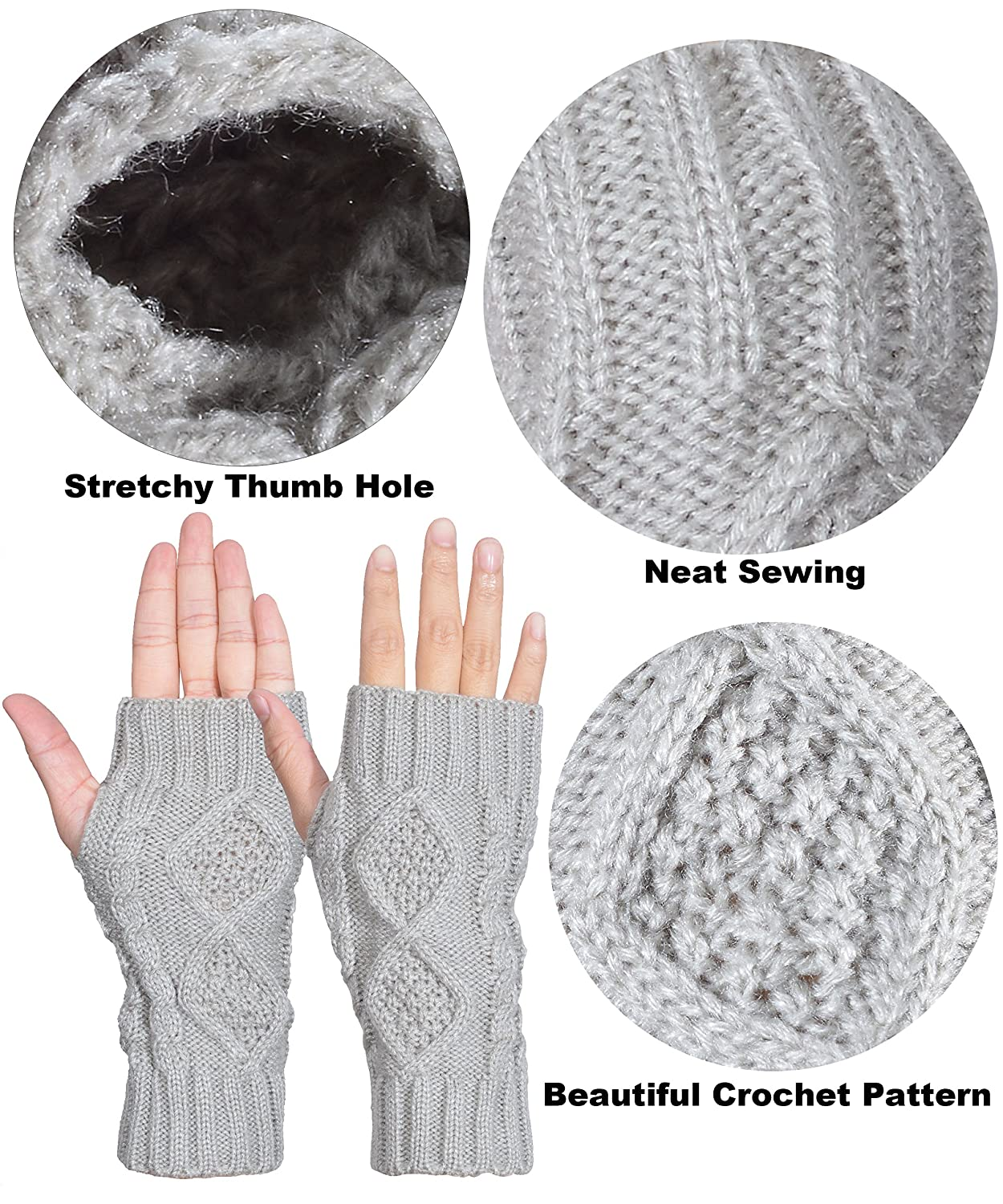 Outrip Womens Fingerless Gloves Winter Warm Knit Thumb Hole Mittens ...