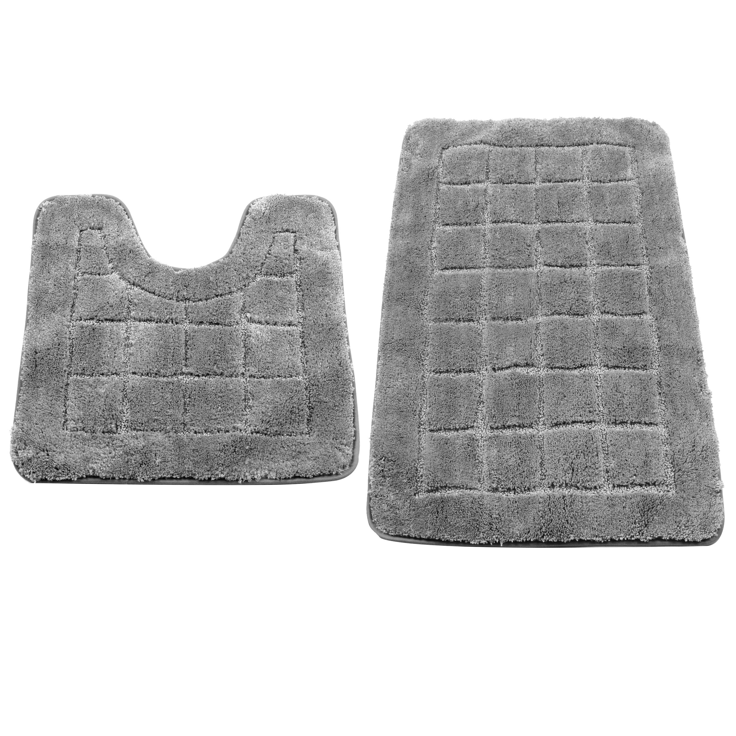 HEBE Bath Rugs Set of 2 Non Slip Microfiber Bathroom Contour Rug Combo Set Washable Bath Shower Mat with U-shaped Toilet Rug Absorbent(21x34+20x20, Grey)