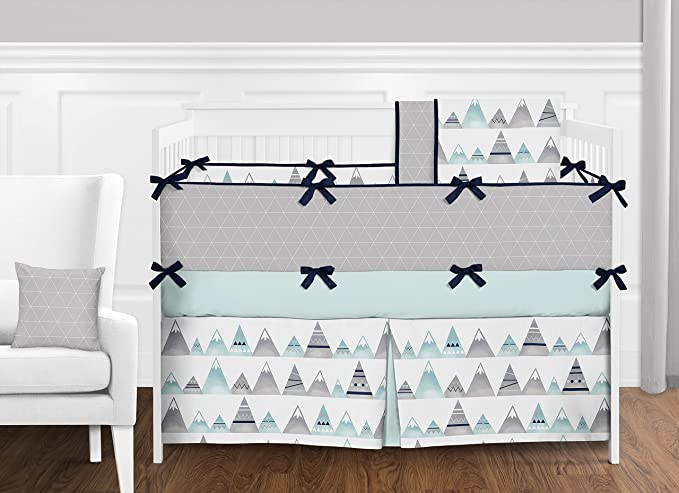 Aqua and Grey Aztec Baby Kid Clothes Laundry Hamper for Mountains Collection by Sweet Jojo Designs B075LRXKW8 Navy Blue