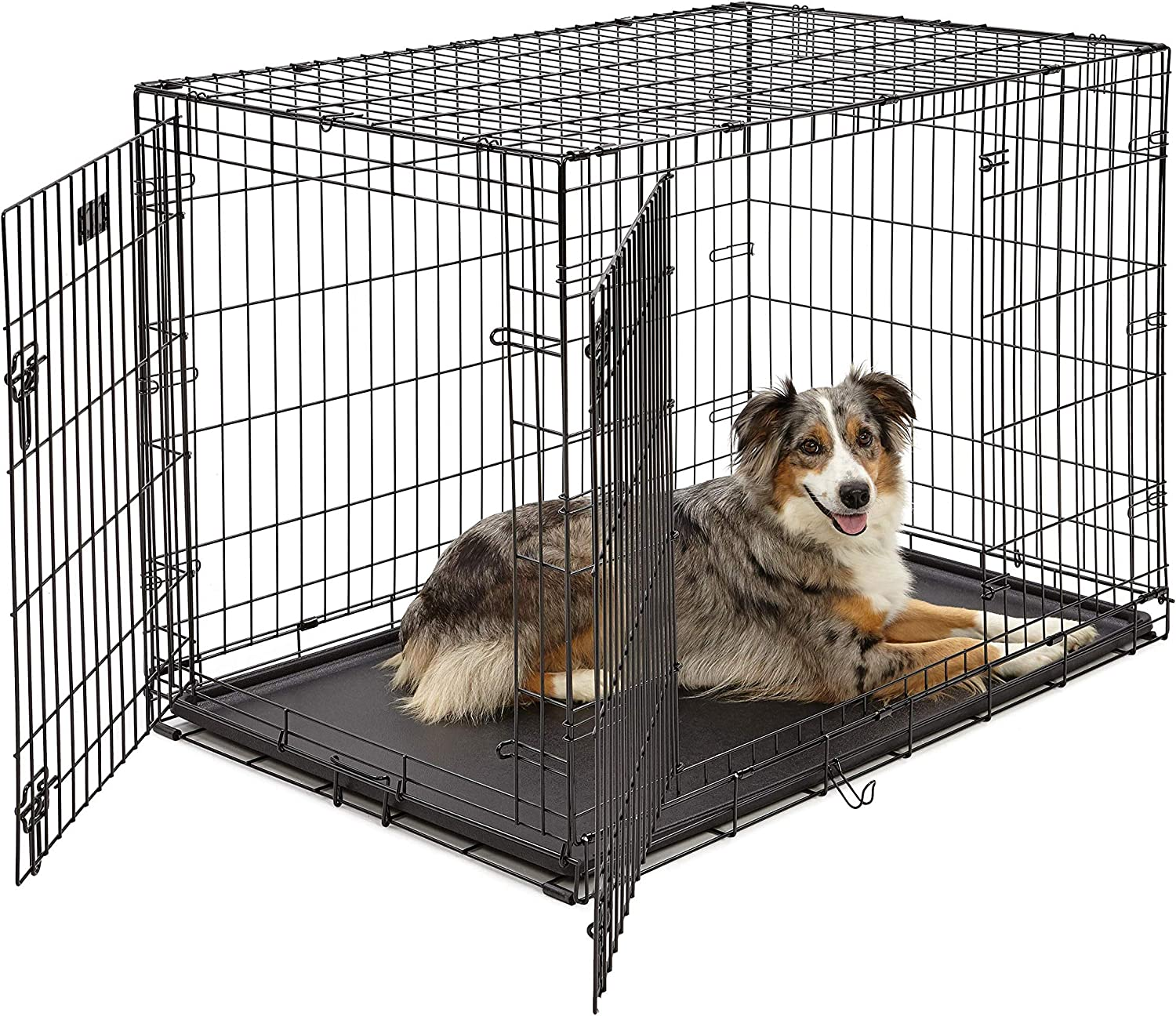 Amazon Com Large Dog Crate 1542ddu Midwest Icrate Double Door Folding Metal Dog Crate Large Dog Black Pet Kennels Pet Supplies