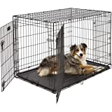 Large Dog Crate | Midwest iCrate Double Door Folding Metal Dog Crate | Divider Panel, Floor Protecting Feet, Leak-Proof…