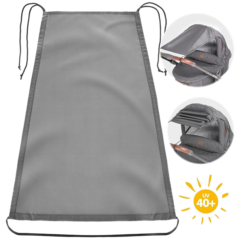 Zamboo Universal Sonnensegel für Kinderwagen Babywanne | flexibler Baby Sonnenschutz mit UV Schutz 40+ und Rollo-Funktion - Grau