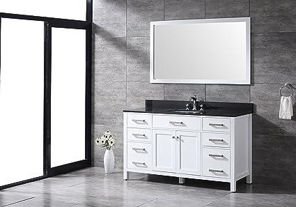 all wood diamond white 60 inch single sink shaker vanity black