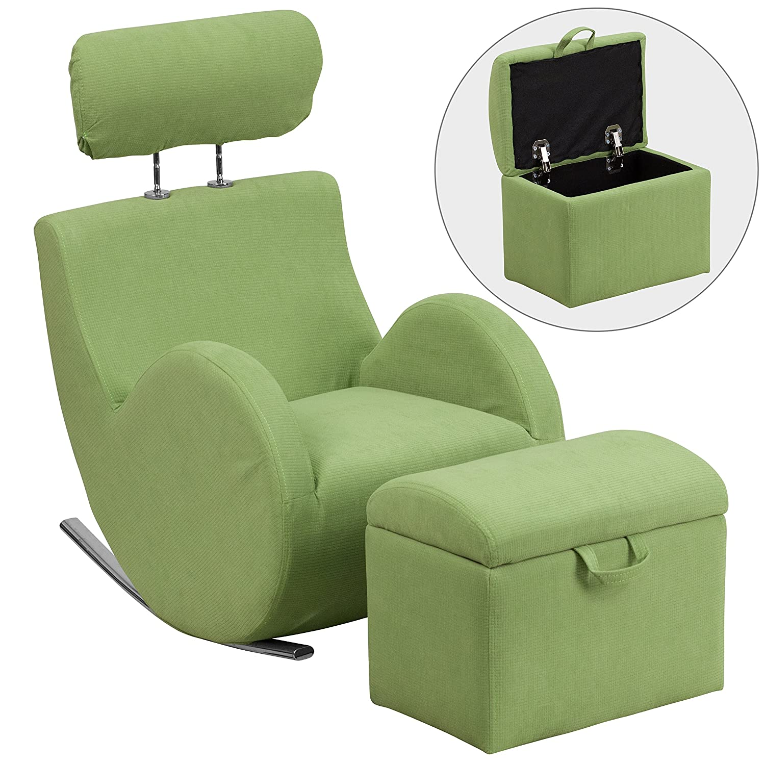 Flash Furniture LD-2025-GN-GG HERCULES Series Green Fabric Rocking Chair with Storage Ottoman