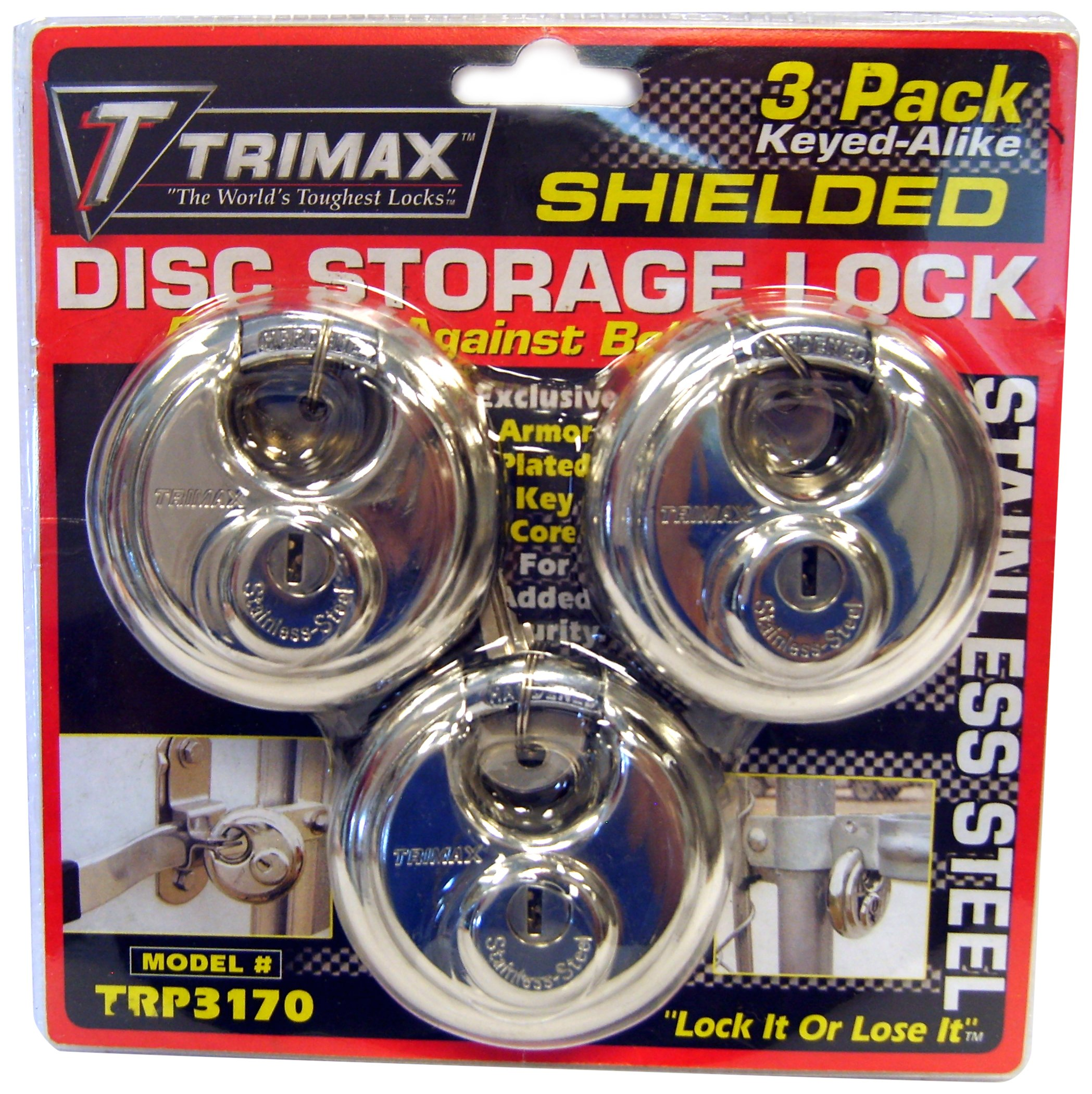 Trimax TRP3170 70 mm Round Stainless Steel Padlock with 10 mm Keyed Alike Shackle, (Pack of 3) by Trimax