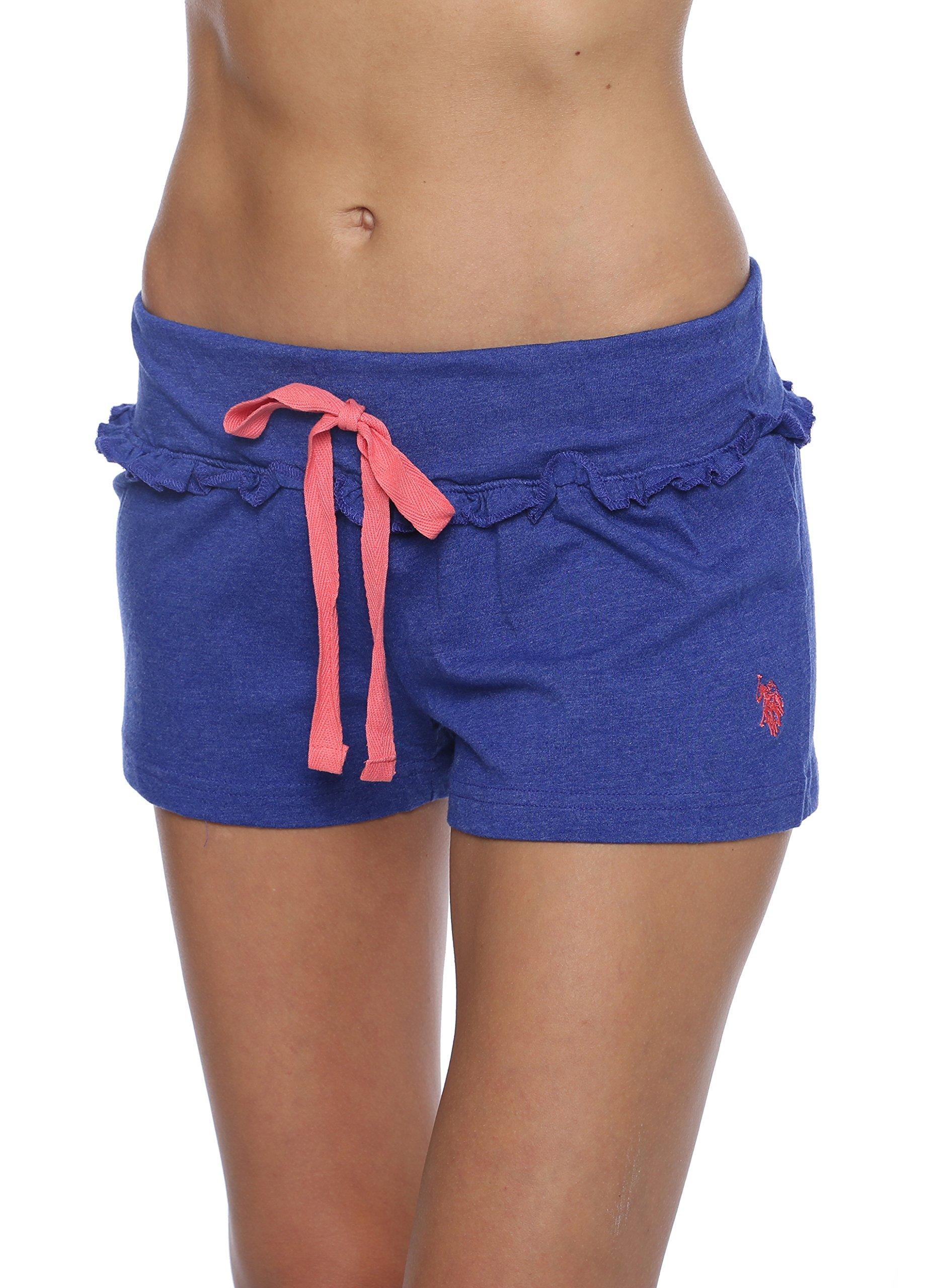 US Polo Assn. Womens Sleep/Lounge Ruffle Trims Shorts with Elastic Waistband Clematis Blue Medium