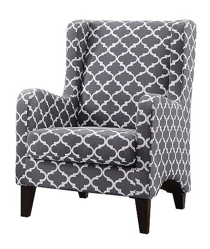 Amazon.com: Homelegance Adlai Wingback Modern Accent Chair, Grey: Kitchen U0026  Dining