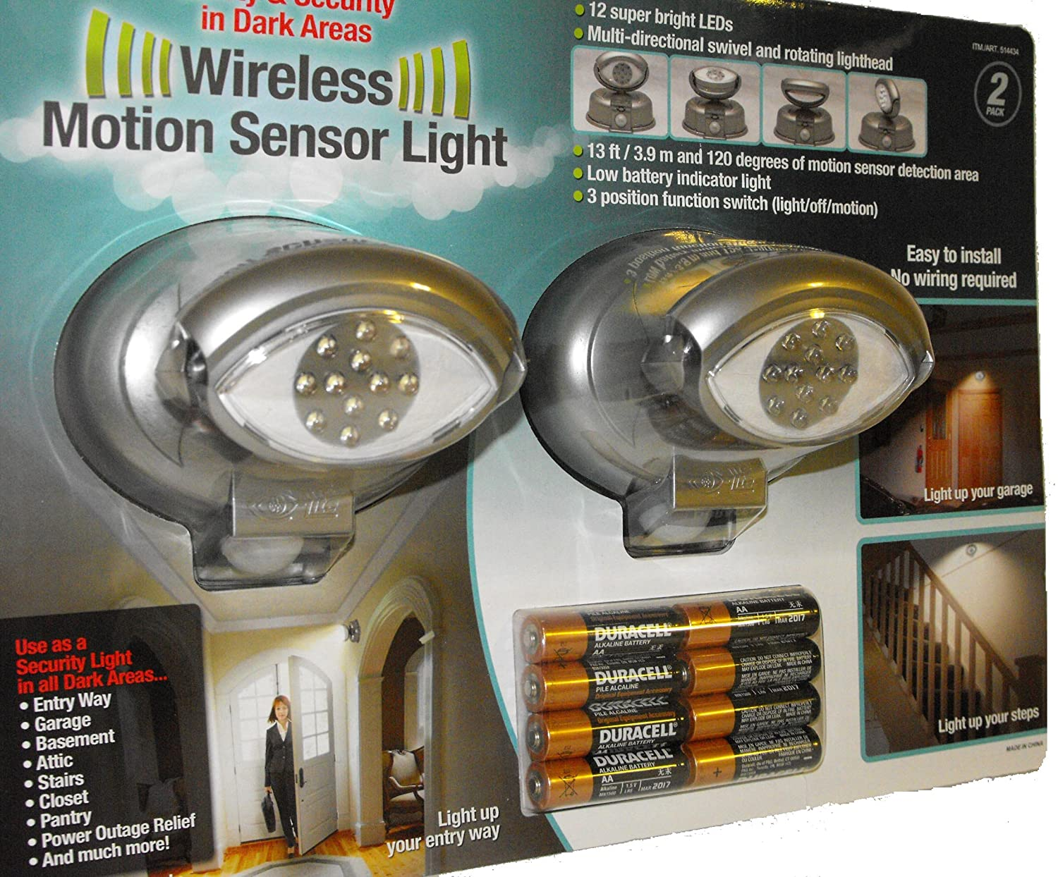 Megabrite 12 Led Wireless Motion Sensor Light 2 Pack 8 Duracell Wiring Lights Batteries Included 514434 Night