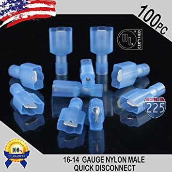Blue Nylon Fully Insulated Male-Female Quick Disconnect Connectors 16-14 GAUGE
