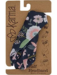 Karma Gifts Women's Half Headband, Accessory, Black Floral, No Size