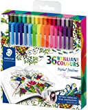 Staedtler 334 Triplus Fineliner Superfine Point Pens, Johanna Basford Edition - Assorted Colours,  Pack of 36