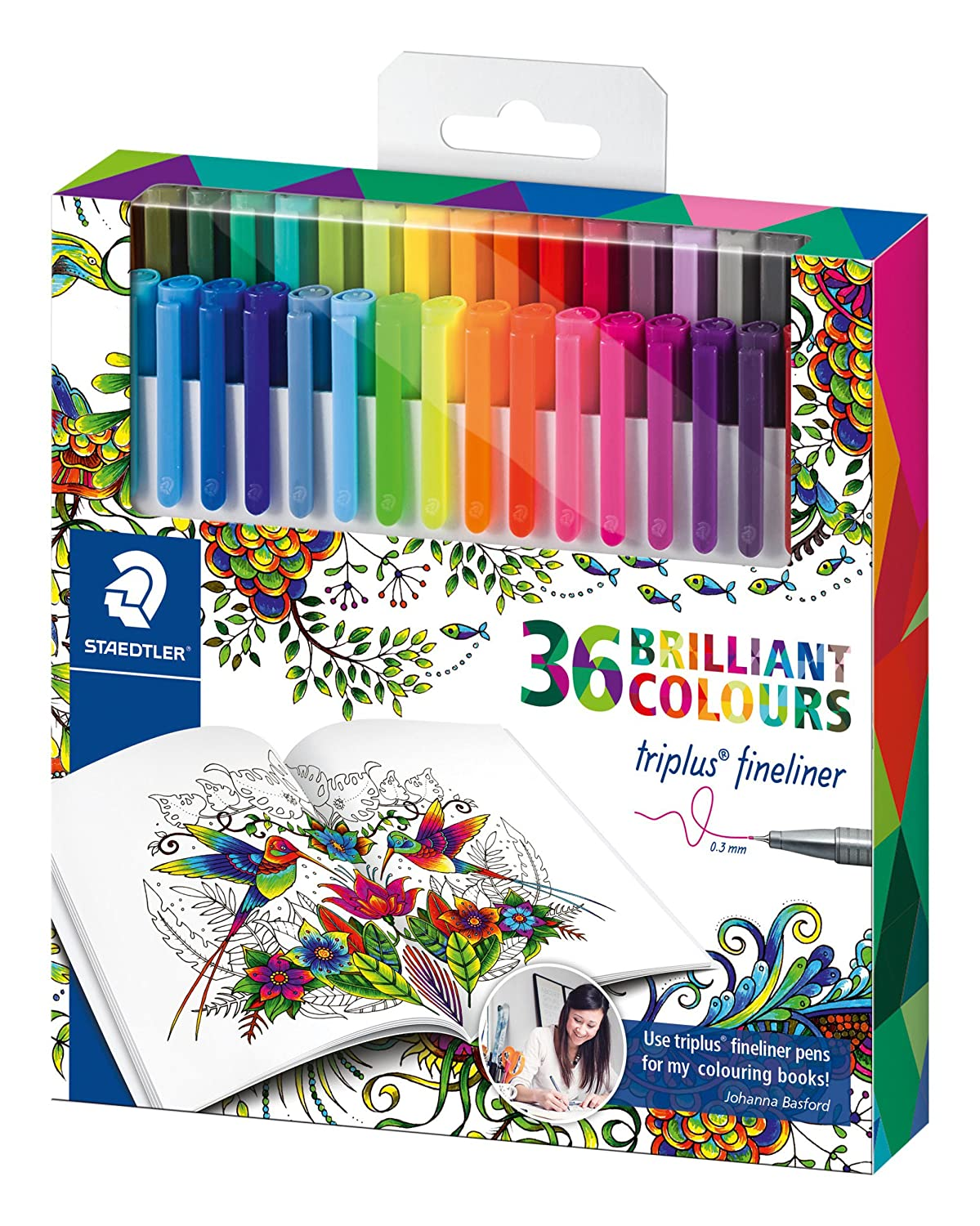 Staedtler Johanna Basford Triplus Fineliner Pens For Adult Coloring Books Set Of 36 Amazonca Office Products