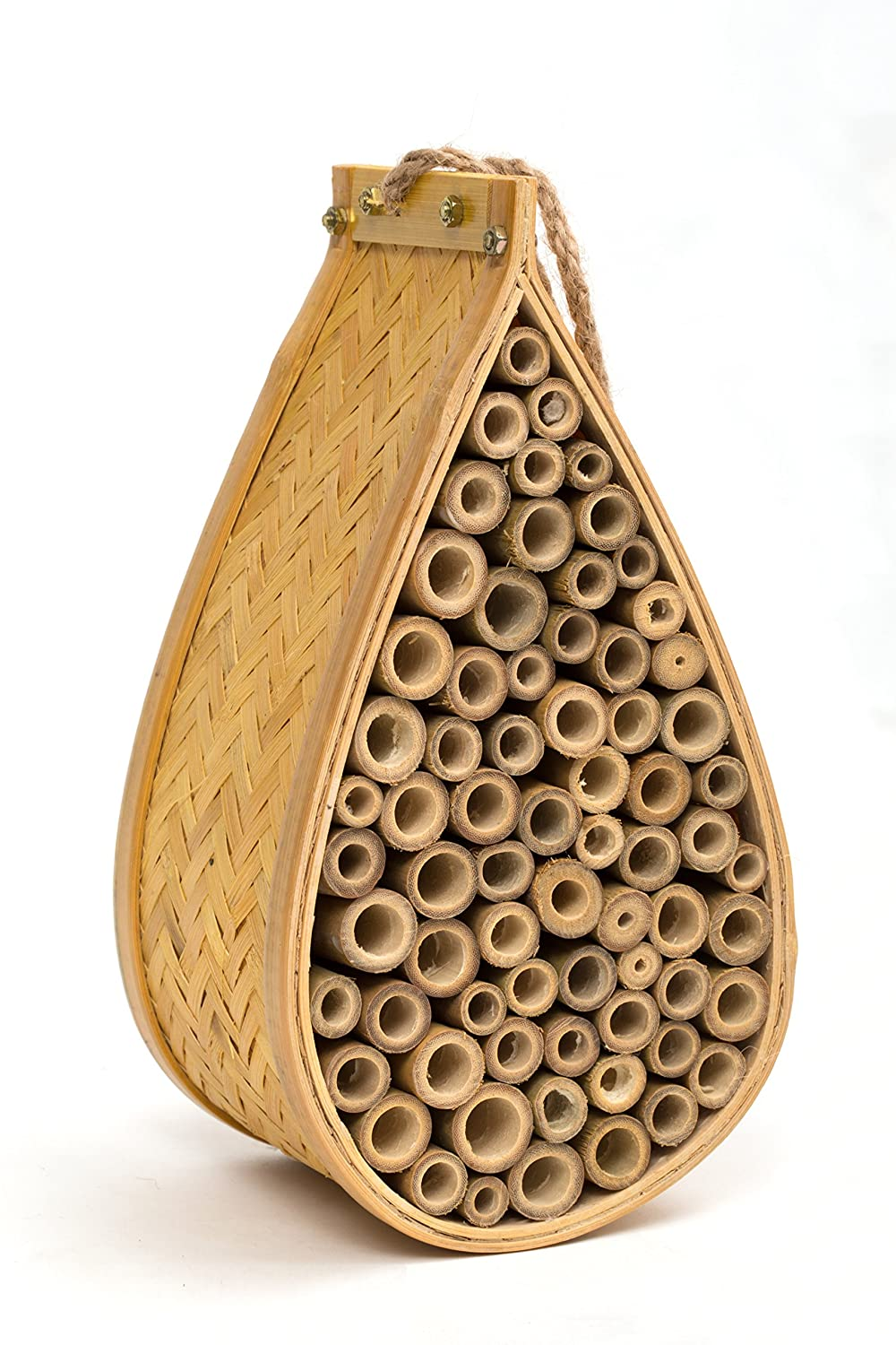 SANGER Outdoor Garden Bee House and Insect Home - Ideal habitat for Orchard, Mason, Solitary, Carpenter, Honey, Other Native Pollinator Bees and Bugs. Product comes complete with bonus rope hanger SA-BHS-1426-1-BR