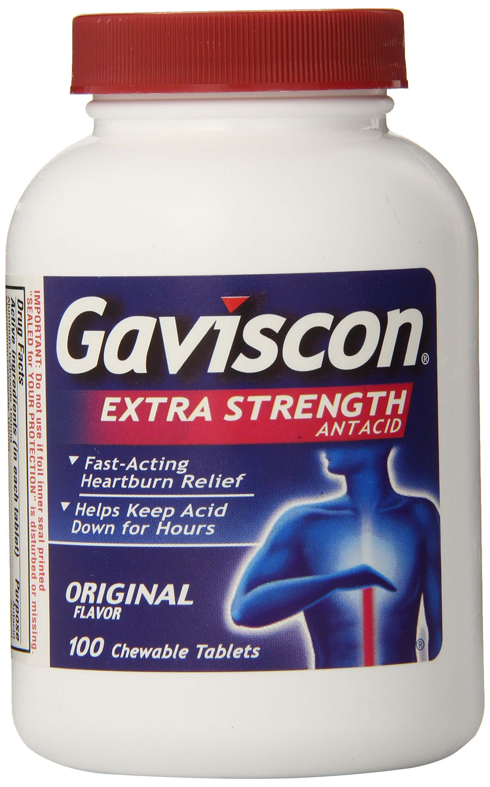 Gaviscon Extra Strength Chewable Antacid Tablets, Original Flavor, 100 Count (Pack of 12) by Gaviscon