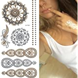 Flash Tattoo in Gold - Silber, Temporary Tattoos, Ornamente Federn, 25 tlg. M-T024