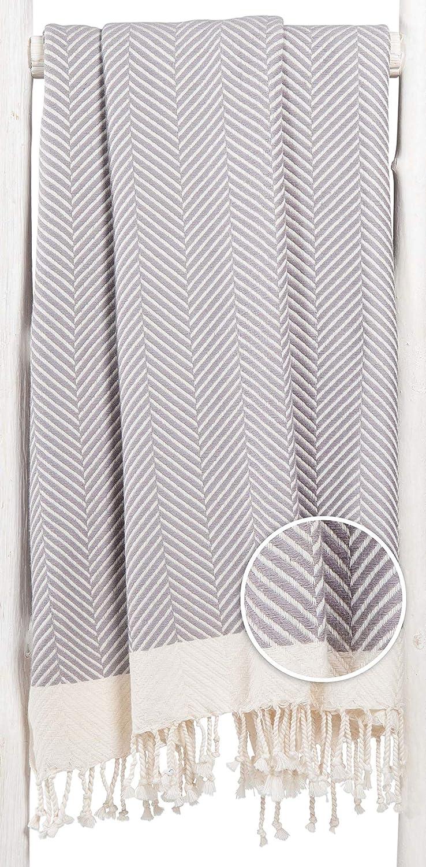 Fouta Playa Toalla Turca XXL Dilan Gris, Diseño Exclusivo de ZusenZomer | Extra Largo, 95x210 cm | 100% Algodón, con Motivo de Espigas: Amazon.es: Hogar