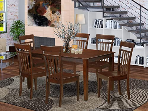 East West Furniture CAP7S-MAH-W Small Set 7 Piece-Wooden Dining Room Chairs Seat-Mahogany Finish Kitchen Table and Structure