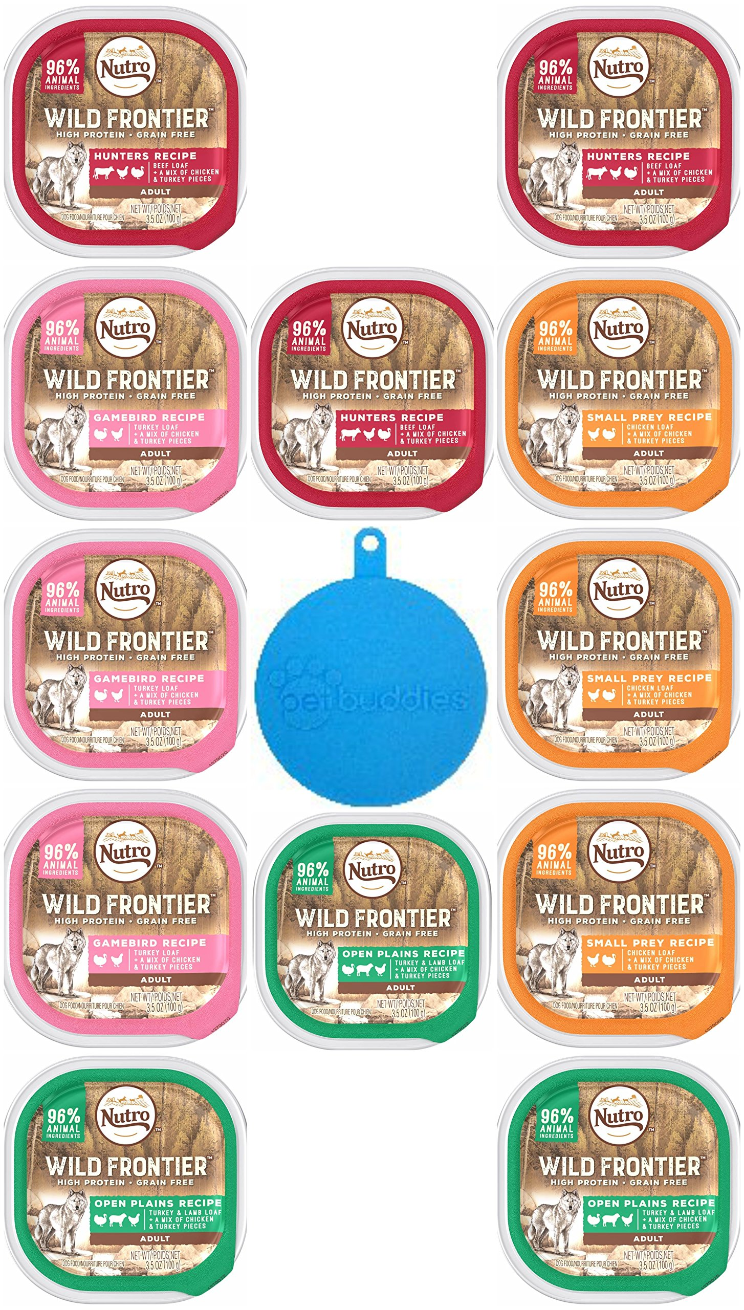 Nutro Wild Frontier High Protein Grain Free Wet Dog Food Pate in 4 Flavors - Beef, Chicken, Turkey & Lamb, and Turkey - 12 Trays Total, 3.5 Oz Each - Plus Silicone Pet Food Cover - 13 Items Total