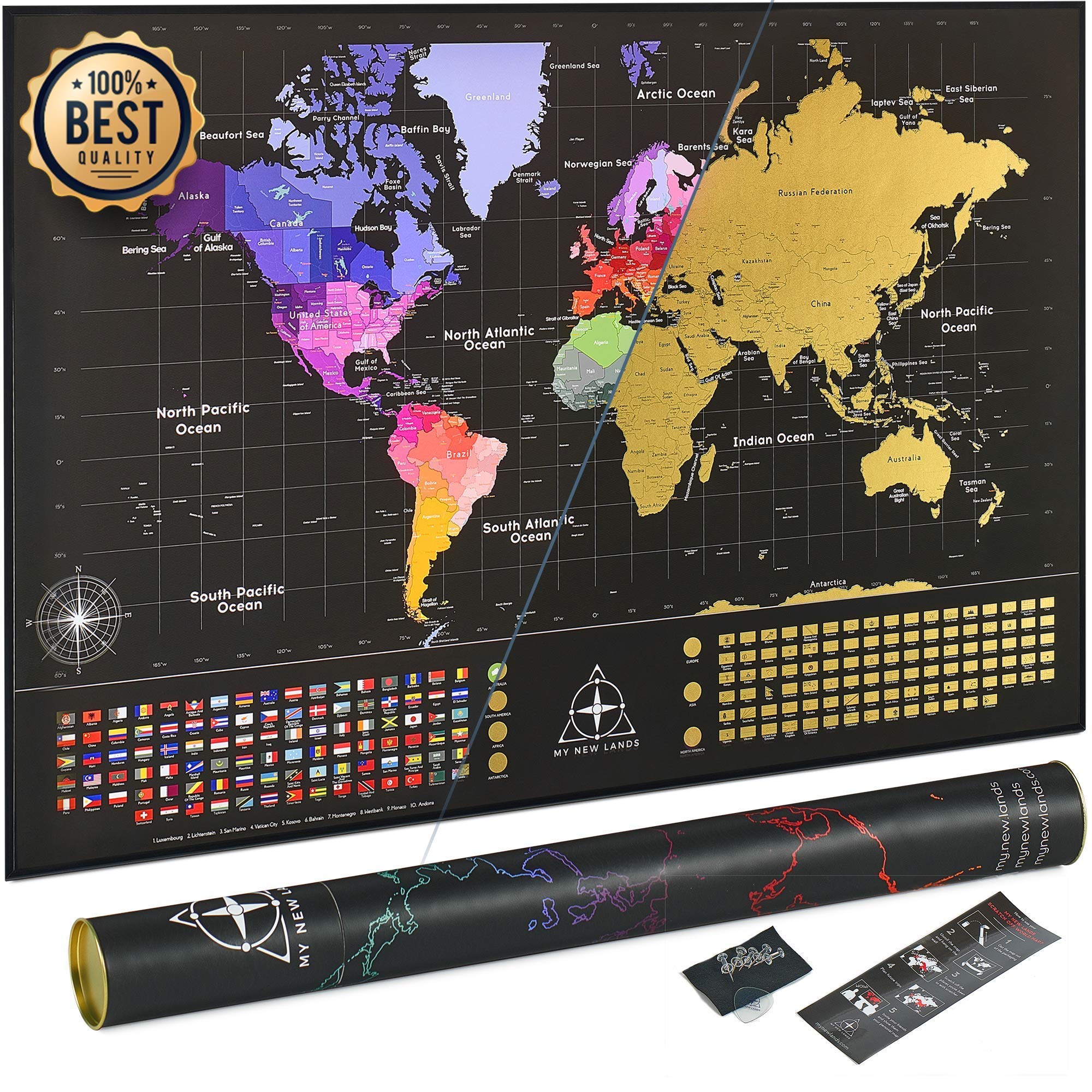 Newest 2019 Extra Large Scratch Off Map of The World | Premium Quality 36x24 World Map Poster w/US States & Country Flags | Original Deluxe Large Travel Map: Detailed Cartography | Made in Europe by MyNewLands