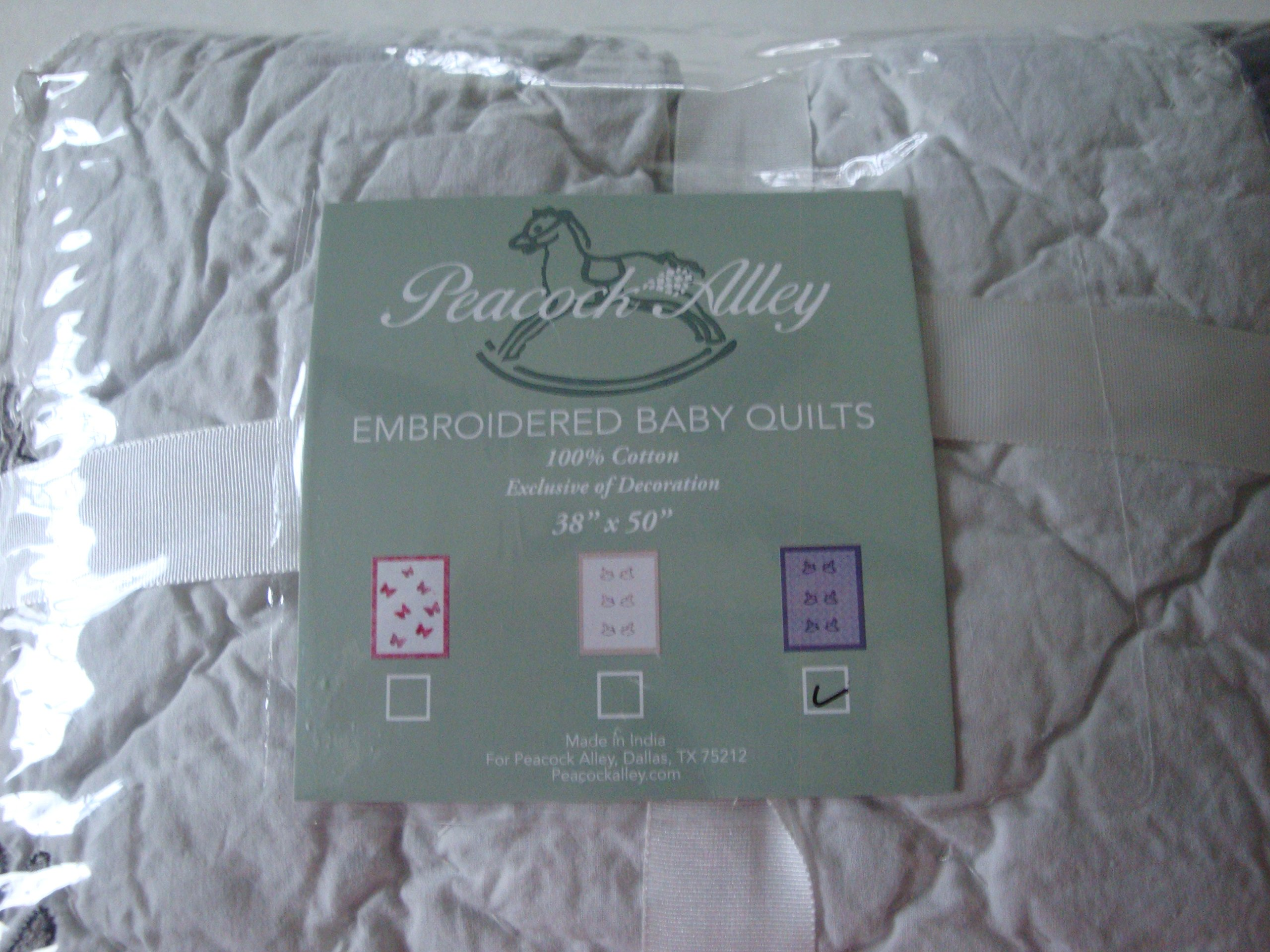 Peacock Alley Grey Rocking Horse 100% Cotton Embroidered Baby Quilt