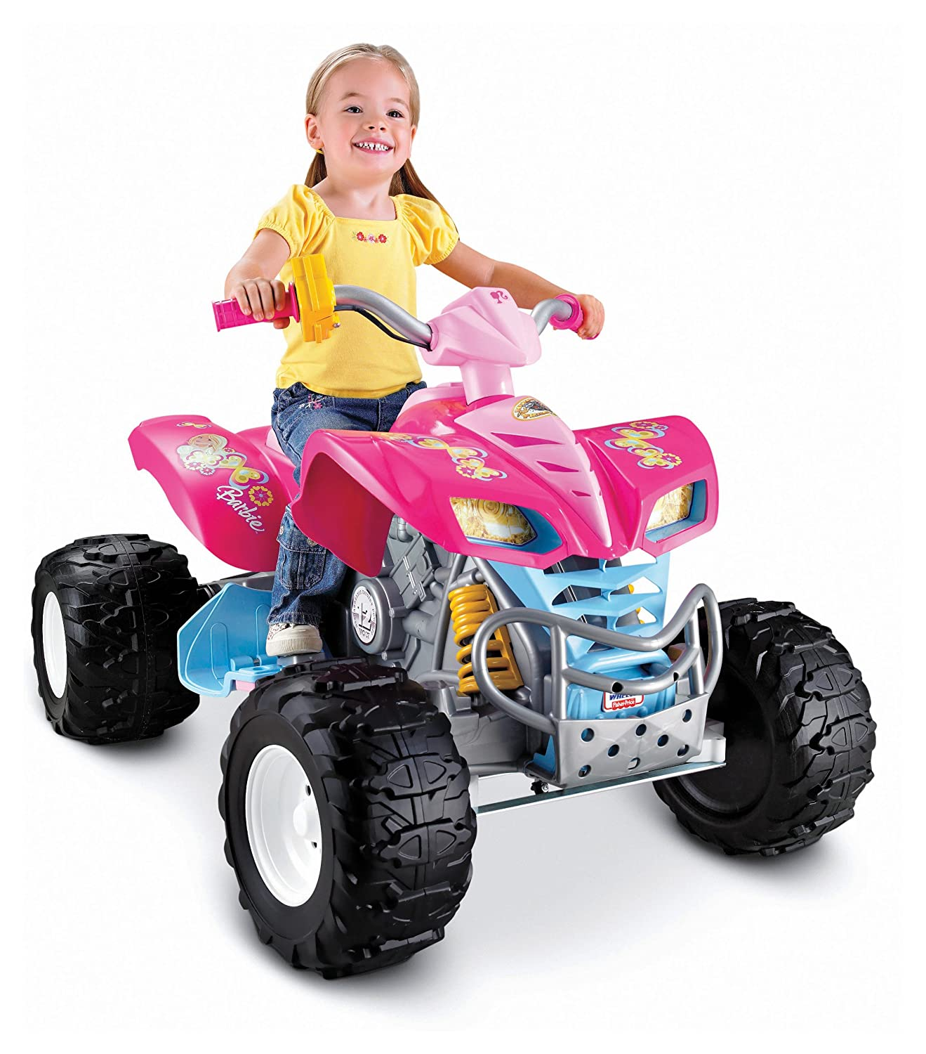 Amazon Com Power Wheels Barbie Kawasaki Kfx With Monster Traction
