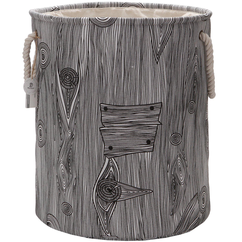 Sea Team - Cesta de almacenamiento de tela de lino y lona, efecto de madera, con asas de cuerda, 50 cm, elegante: Amazon.es: Hogar