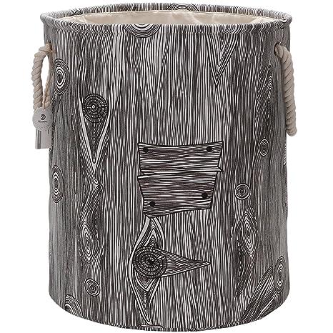Sea Team - Cesta de almacenamiento de tela de lino y lona, efecto de madera