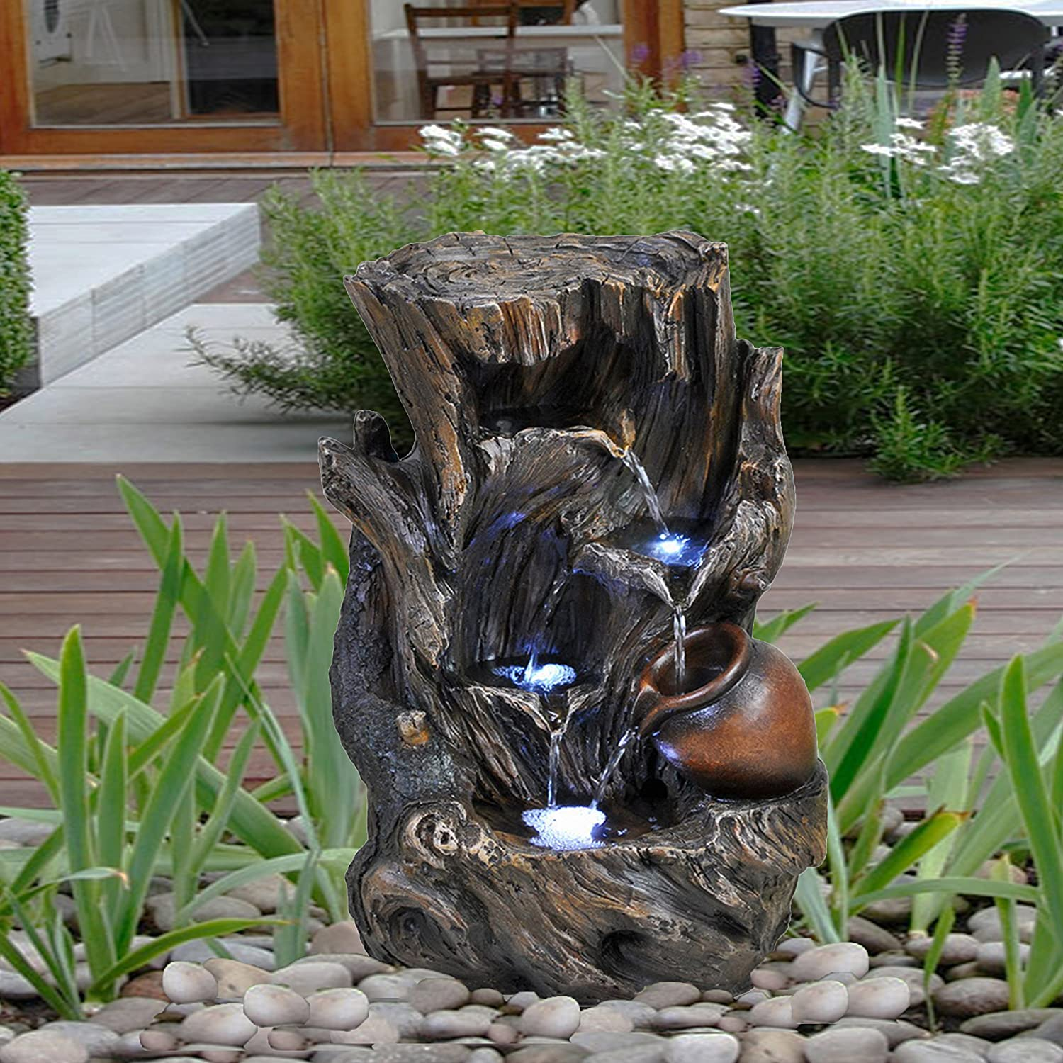 Tree Log Fountain GEEZY Garden Water Feature LED Fountain Indoor Outdoor Cascading Freestanding Polyresin Garden Statue Lights & Water Decoration (Tree Log Fountain)