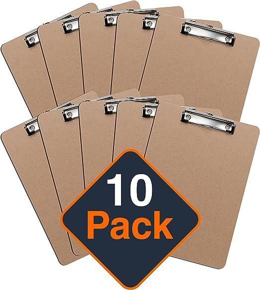 Portapapeles con Pinza (Pack de 10 Unidades), Tableros Rígidos con ...