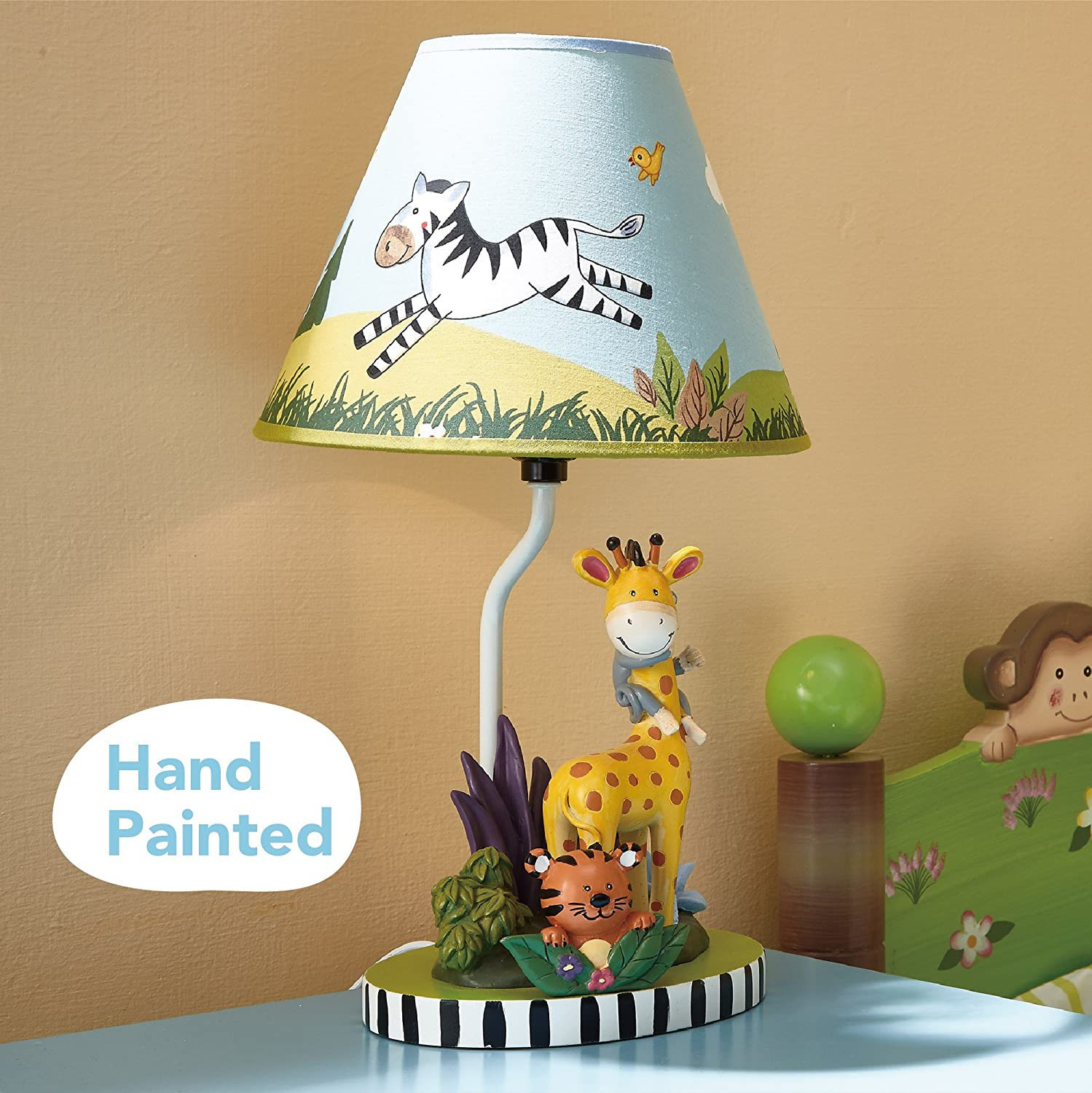 Imagination Inspiring Hand Painted Details   Non-Toxic Fantasy Fields Lead Free Water-Based Paint Sunny Safari Animals Thematic Kids Table Lamp