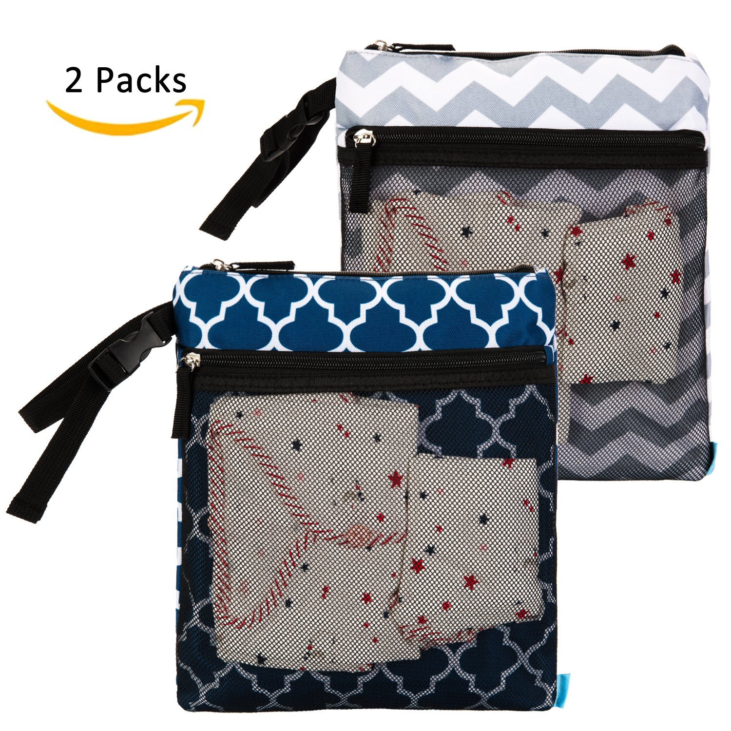 NiceEbag 2 pcs Baby Wet and Dry Cloth Diaper Bags Travel Nappy Organizer Bag Waterproof Reusable with Two Zippered Pockets(Grey Arrow and Black Peony)