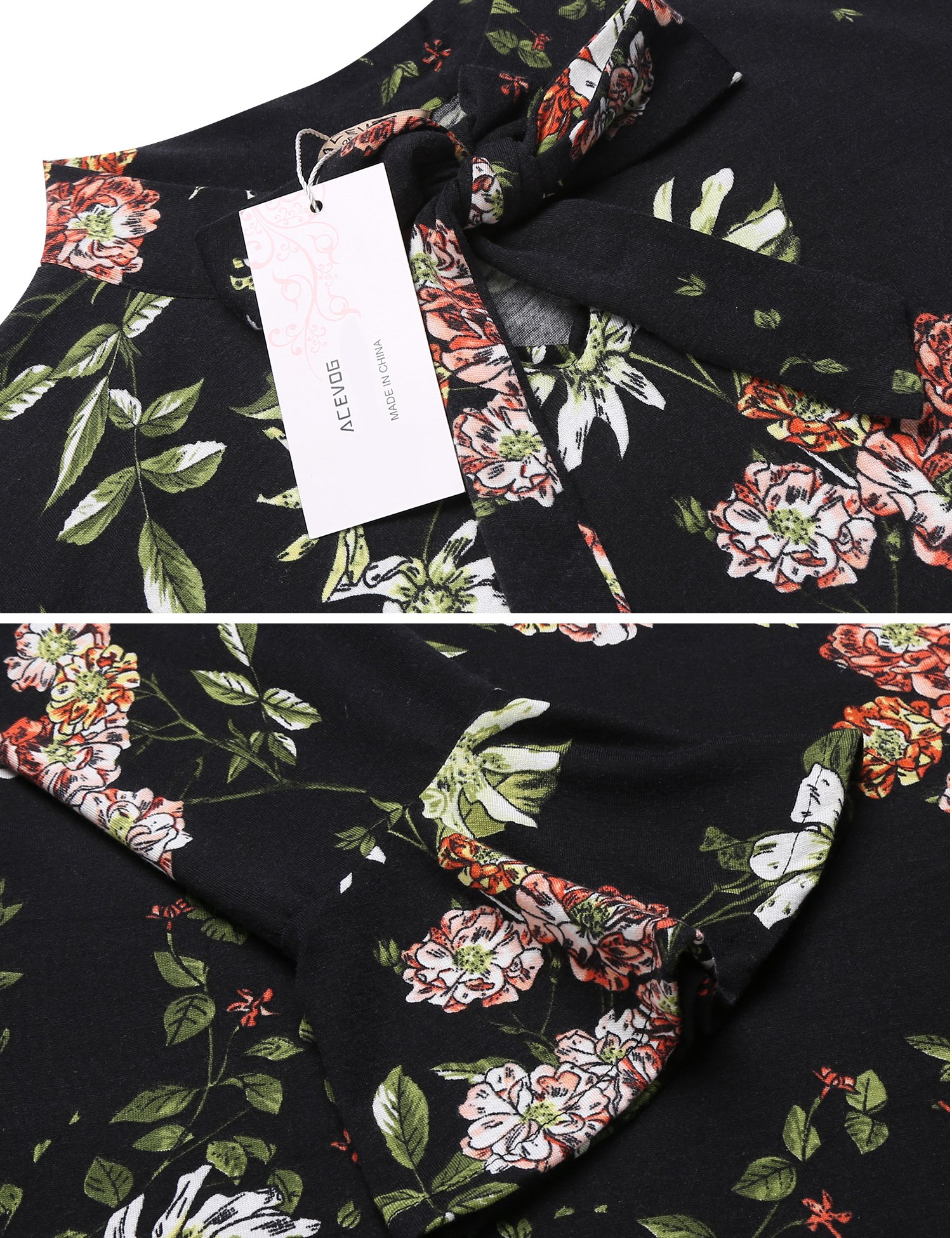 ACEVOG Women's Casual Floral Print Bell Sleeve Fit and Flare Dress (X-Large, Black) by ACEVOG (Image #6)