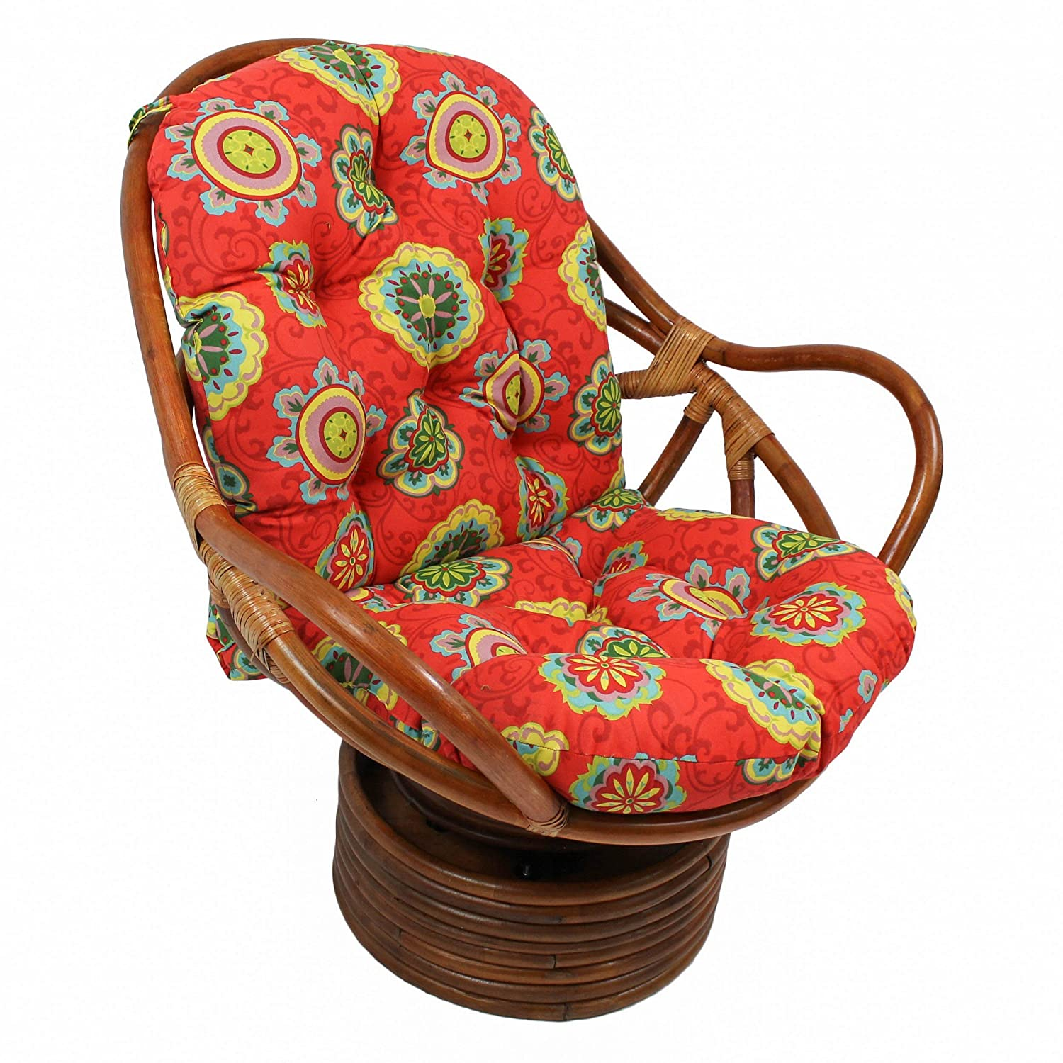 Blazing Needles Patterned Outdoor Spun Polyester Swivel Rocker Cushion, 48 x 24 , Farrington Terrace Grenadine
