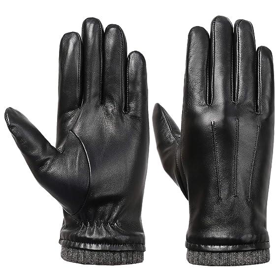 Acdyion Herren Winter Touchscreen Lederhandschuhe Lammfell Touchscreen Handschuhe Winter Herren warm Outdoor 100% echtes Leder und Fleece Futter
