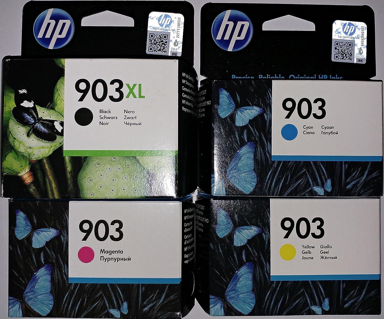 Hp 903xl Black And Hp 903 1x Cyan Magenta Yellow Original Ink Cartridges For Hp Officejet 6950 Hp Officejet Pro 6960 Hp Officejet Pro 6970 Bürobedarf Schreibwaren