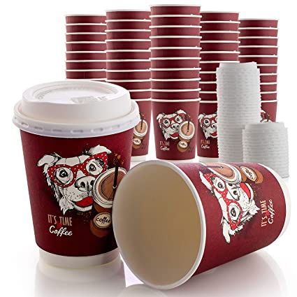 c650e56e3a9 Disposable Coffee Cups 50 Set Double Wall with Leak Proof Lids, 12OZ  Hot/Cold
