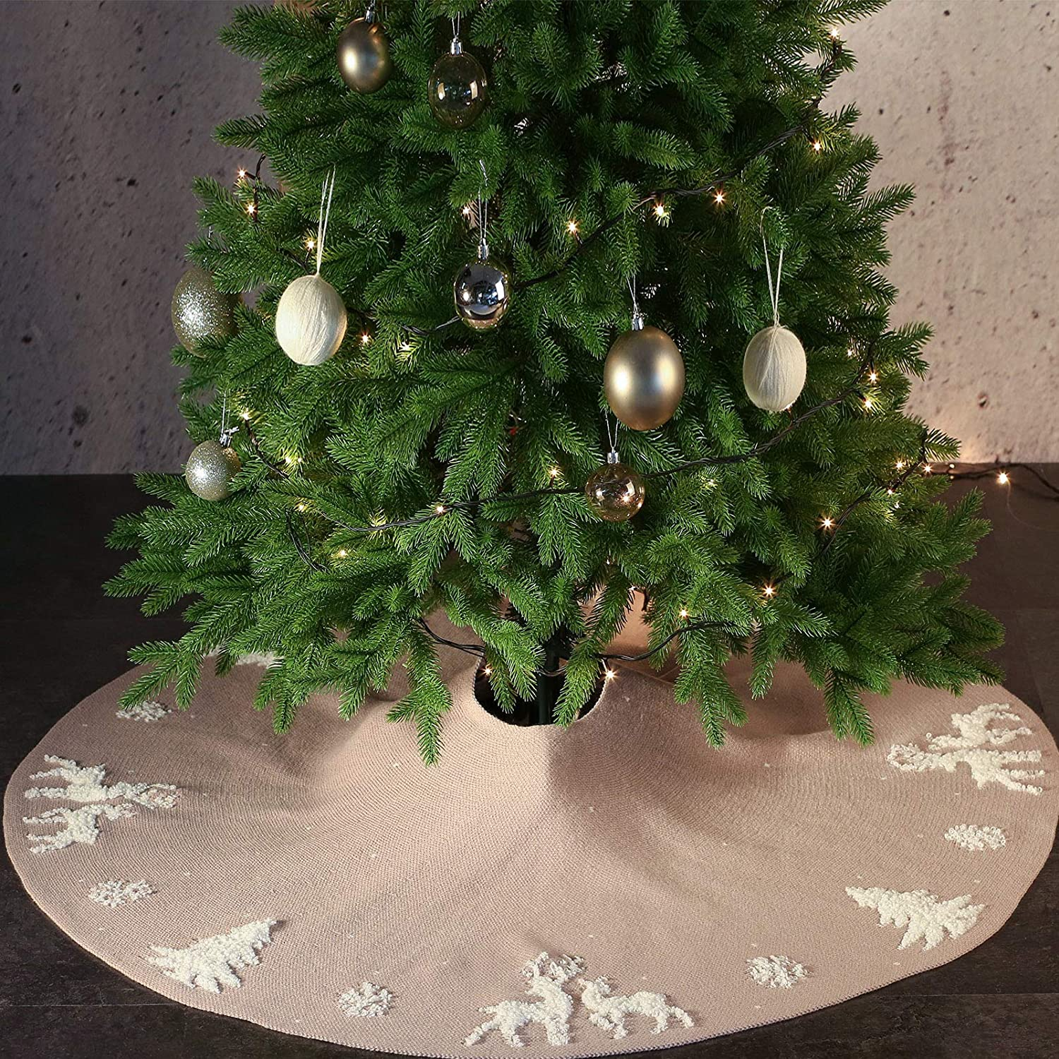 AOFEITE Christmas Tree Skirt 48 inches Large with 3D Knitted Reindeer Snowflake, Woven Acrylic Wool Base Mat 6 to 8ft Tall Trees Suitable, Rustic Festive Xmas Holiday Décor Beige