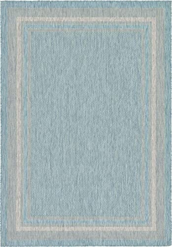 Unique Loom Outdoor Border Collection Casual Solid Border Transitional Indoor and Outdoor Flatweave Aquamarine Area Rug 7' 0 x 10' 0