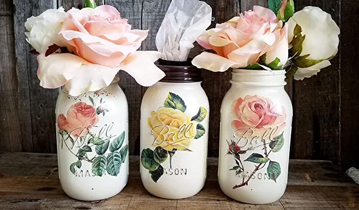 vintage rose vase jars tissue holder wedding gift bridal shower