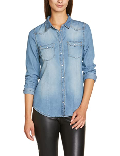 Vero Moda Moda - Blusa de manga larga para mujer, color vaquero claro (light